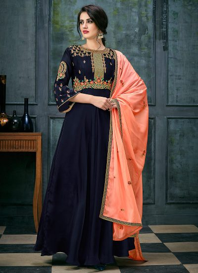 Dark Blue and Peach Embroidered Anarkali
