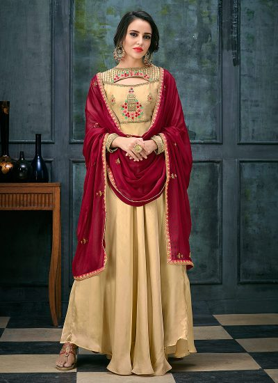 Light Beige and Red Embroidered Anarkali