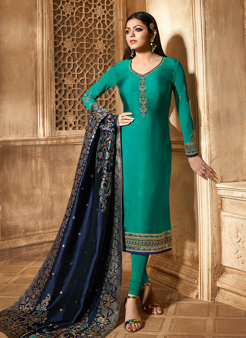 Teal and Blue Embroidered Straight Suit