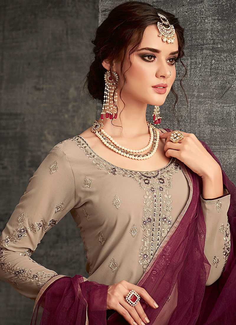 Grey and Purple Embroidered Palazzo Suit