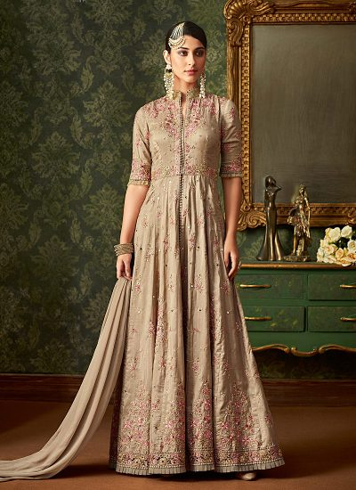 Grey Floral Embroidered Anakali