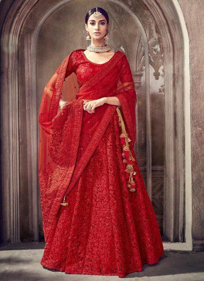 Red Heavy Embroidered Lehenga