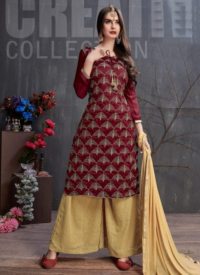 Maroon and Beige Embroidered Palazzo Suit