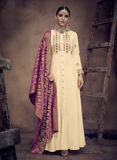 Cream and Purple Embroidered Anarkali
