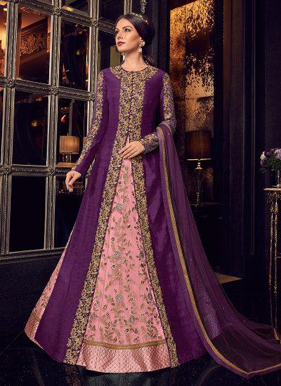 Purple and Pink Embroidered Jacket Style Lehenga / Pant Style Anarkali