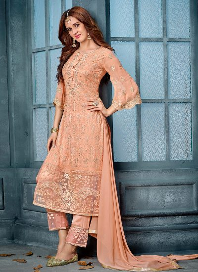 Peach and Gold Embroidered Straight Pant Suit