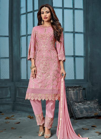 Pink and Gold Embroidered Straight Pant Suit
