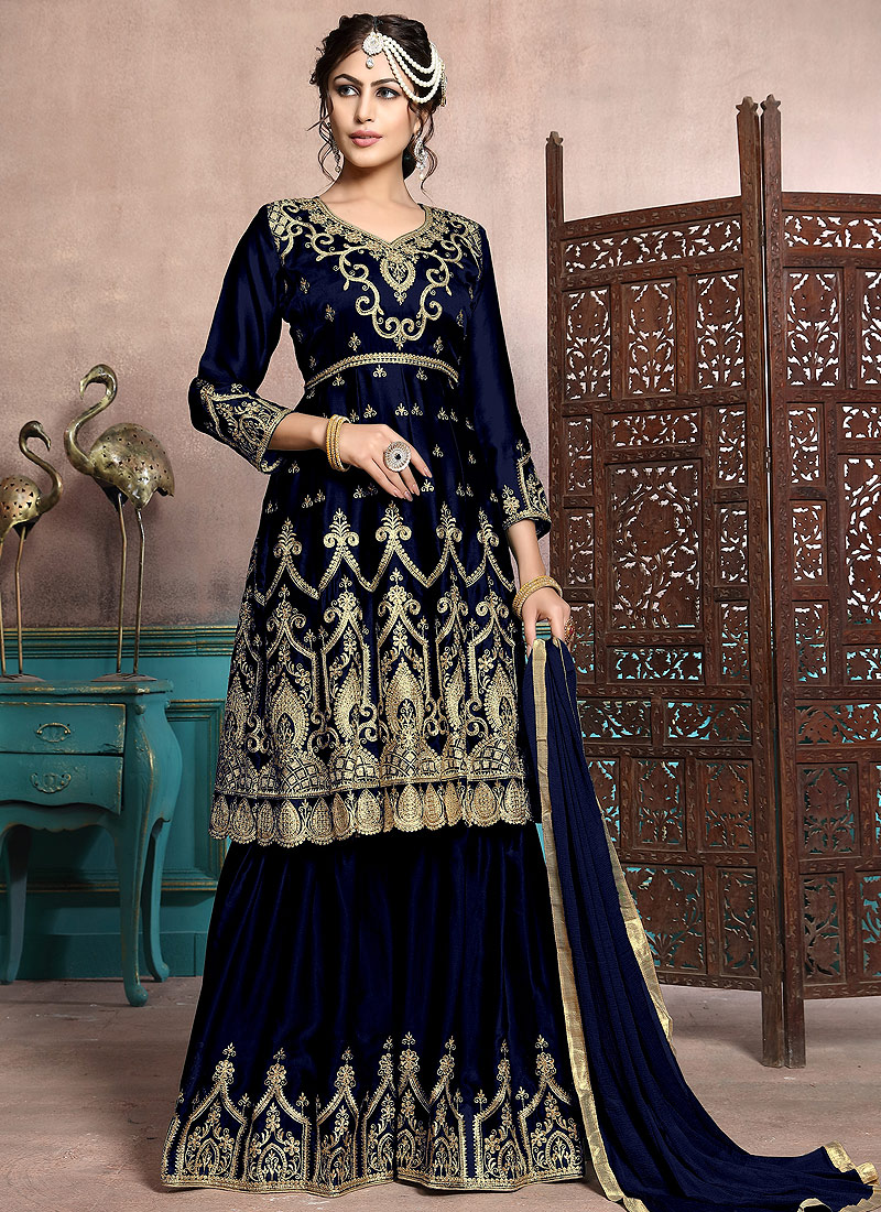 Dark Blue and Gold Embroidered Gharara Suit