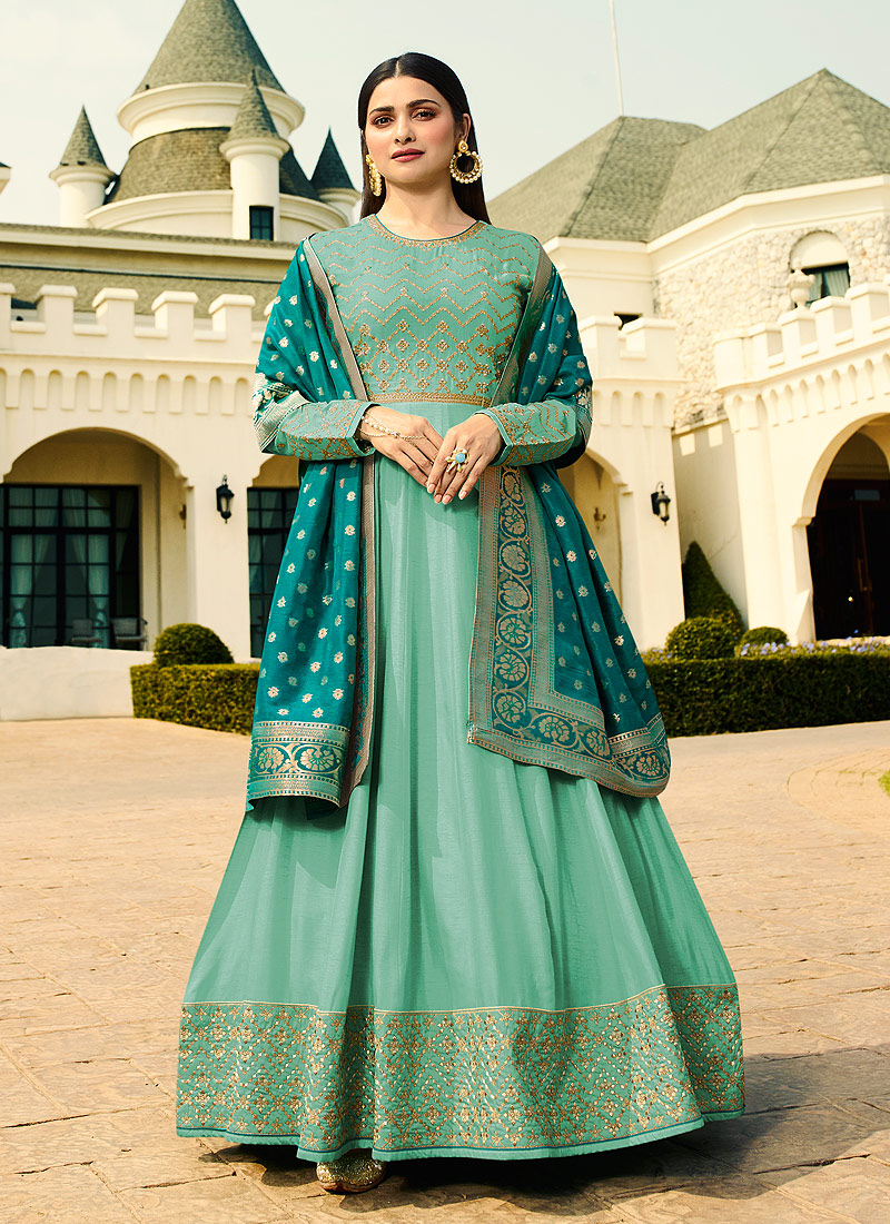 Sea Green and Teal Embroidered Anarkali
