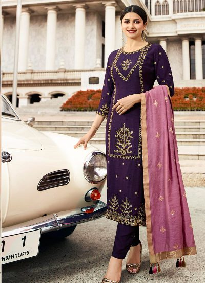 Purple and Gold Embroidered Straight Pant Suit