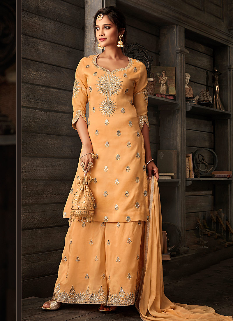 Orange and Gold Embroidered Palazzo Suit