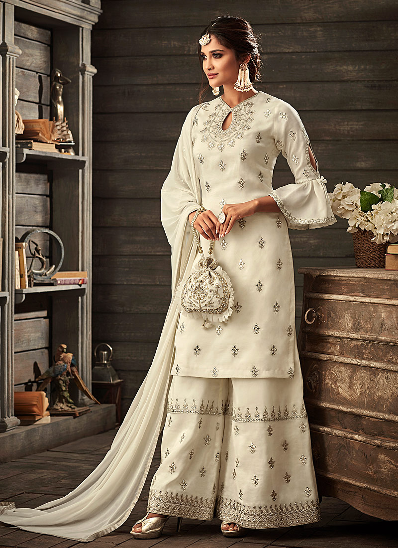 Off Wihte Embroidered Palazzo Suit