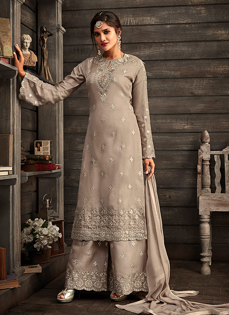 Grey Embroidered Palazzo Suit