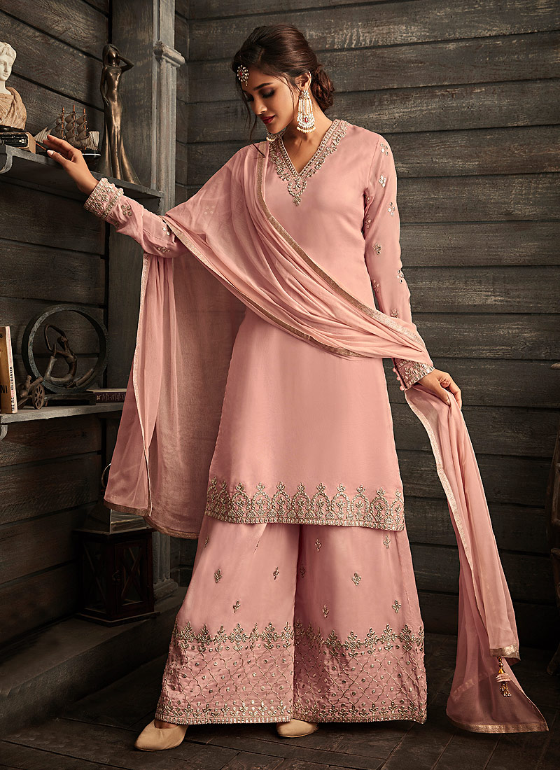 Pink Embroidered Jacket Style Palazzo Suit