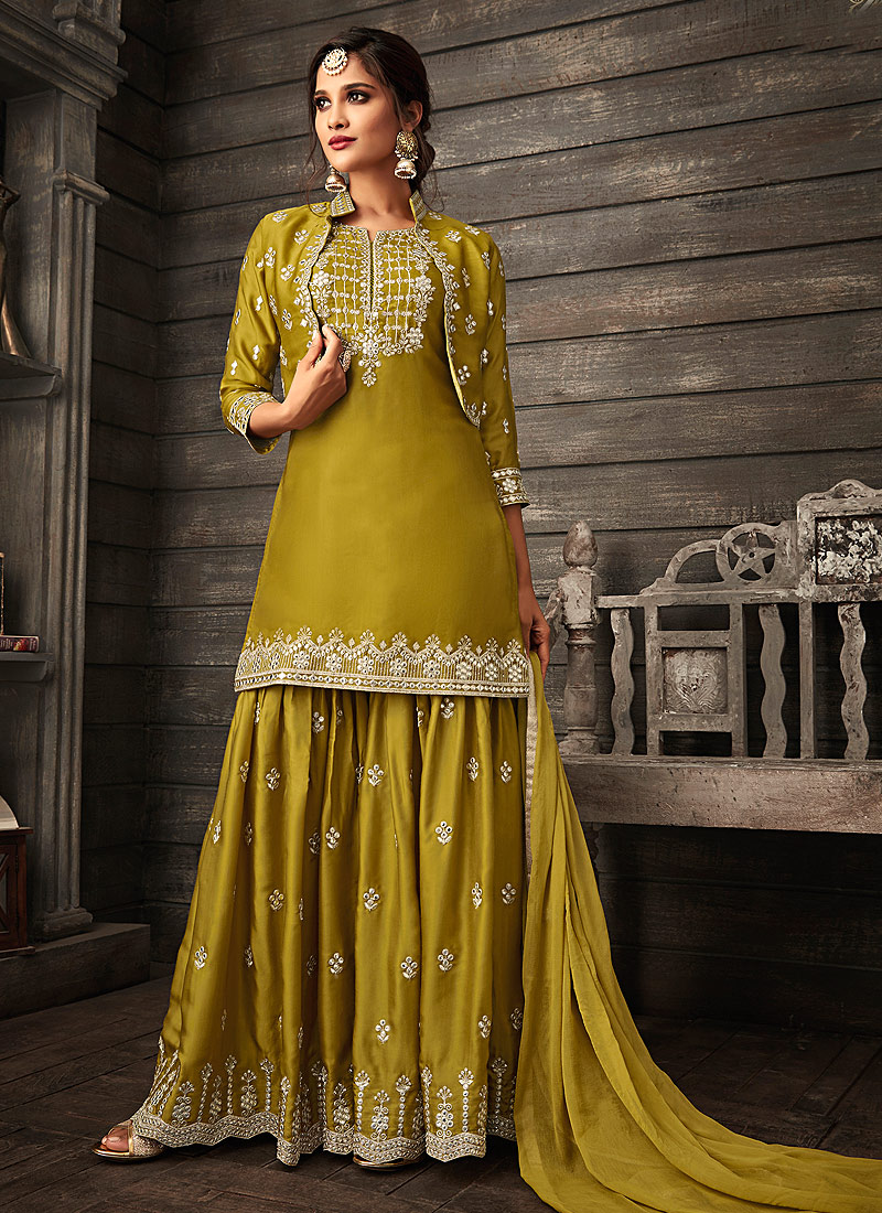 Heena Green Embroidered Jacket Style Palazzo Suit