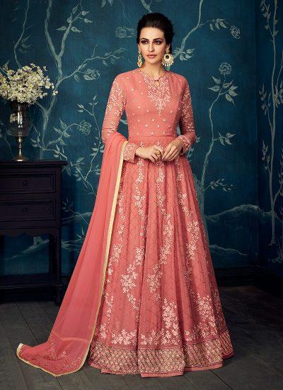 Pink Floral Embroidered Anarkali