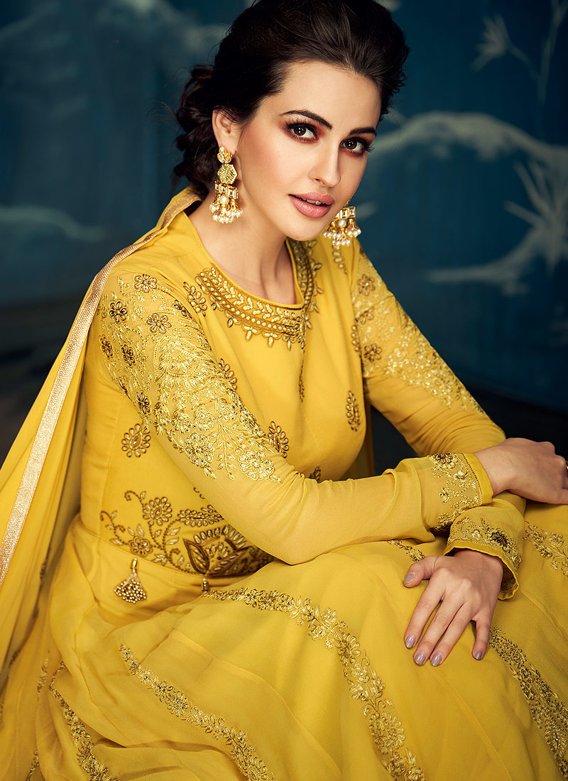 Yellow and Gold Embroidered Anarkali