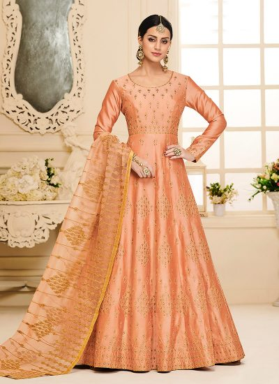 Peach and Gold Embroidered Anarkali