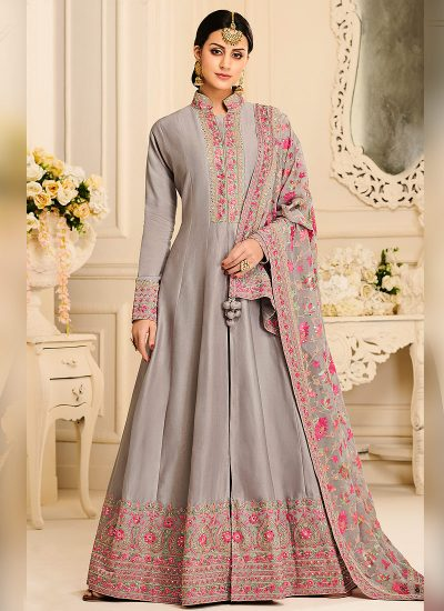 Grey and Pink Embroidered Anarkali