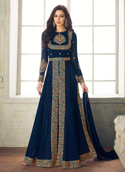 Blue and Gold Embroidered Pant Style Anarkali