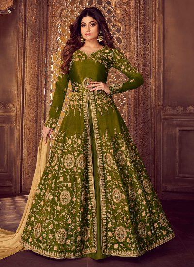 Green and Gold Embroidered Lehenga Anarkali