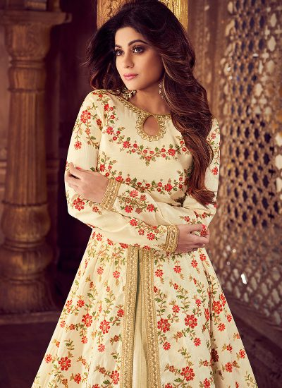 Cream and Gold Embroidered Lehenga Anarkali