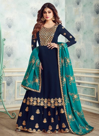 Blue and Aqua Embroidered Gharara Suit