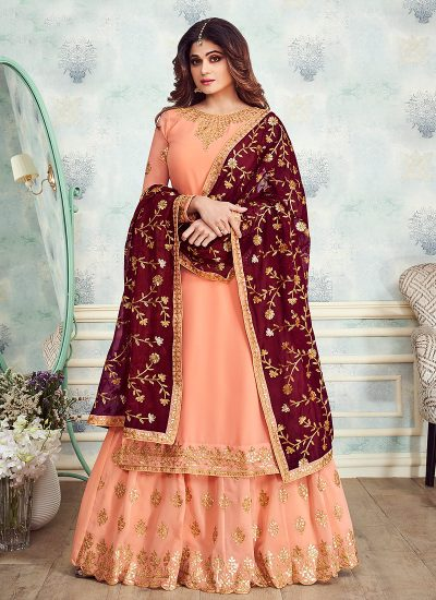Peach and Maroon Embroidered Gharara Suit