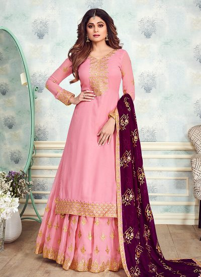 Pink and Purple Embroidered Gharara Suit