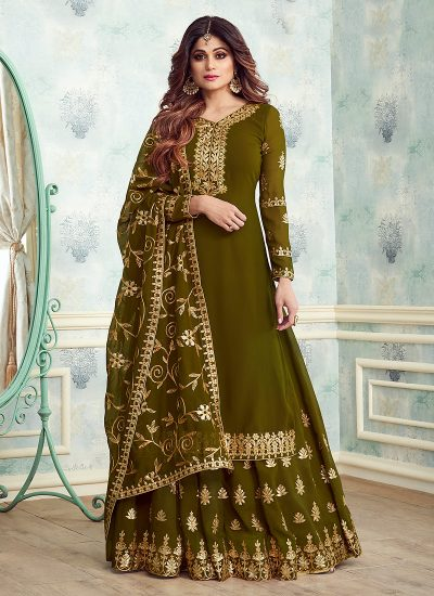 Heena Green and Gold Embroidered Gharara Suit