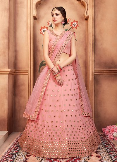 Peach Mirror Work Embroidered Lehenga