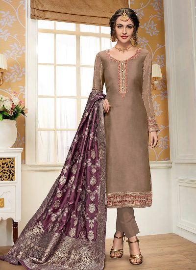 Light Brown and Purple Embroidered Straight Pant Suit