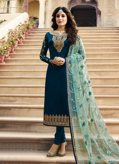 Blue and Gold Embroidered Straight Suit