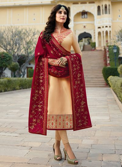 Cream and Red Embroidered Straight Suit