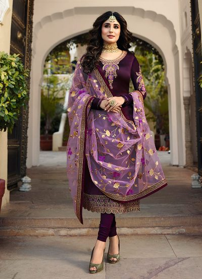 Deep Purple and Gold Embroidered Straight Suit