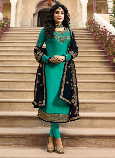 Teal and Black Embroidered Straight Suit