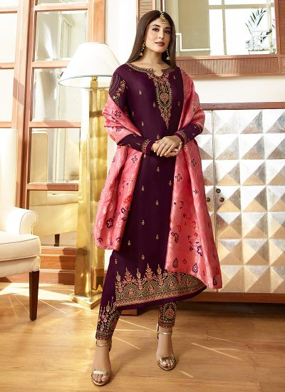 Purple and Pink Embroidered Straight Pant Suit