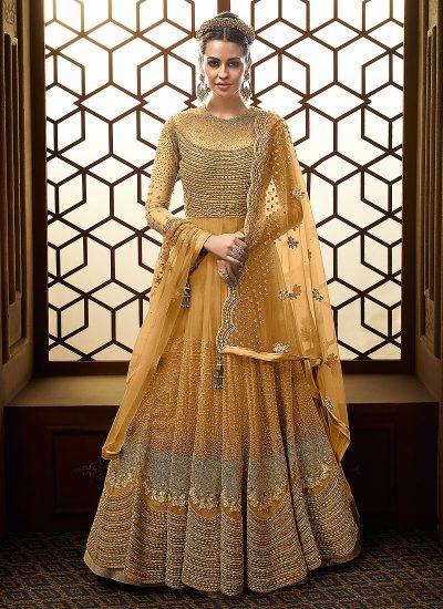 Light Orange and Gold Embroidered Anarkali