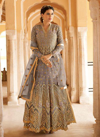 Grey and Gold Embroidered Lehenga/ Pant Style Anarkali