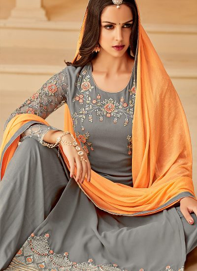 Grey and Orange Embroidered Palazzo Suit
