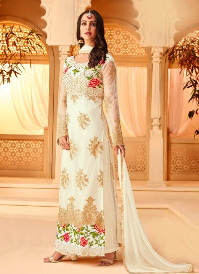 White Floral Embroidered Palazzo Suit