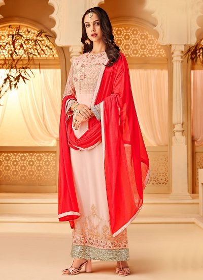Light Pink and Red Embroidered Straight Suit