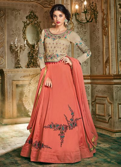 Beige and Pink Embroidered Anarkali