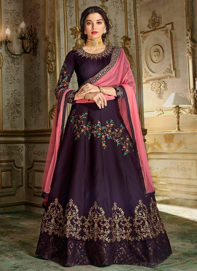 Purple and Pink Embroidered Anarkali