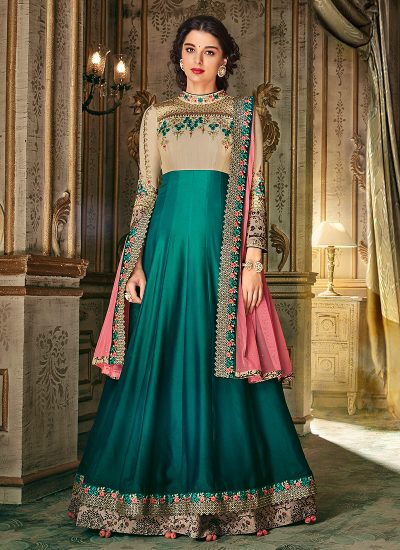 Teal and Pink Embroidered Anarkali