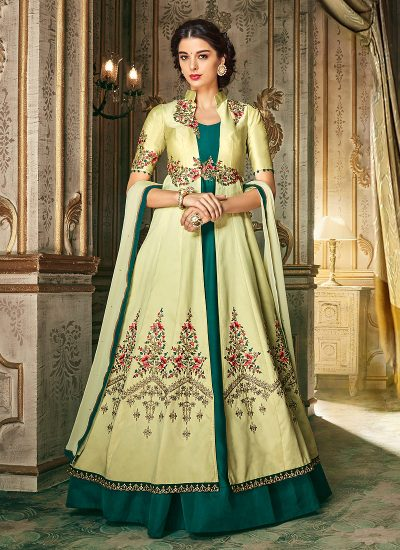 Light Yellow and Teal Embroidered Anarkali