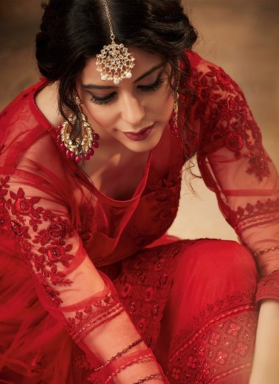 Red Floral Embroidered Sharara Suit