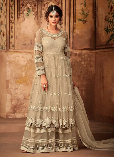 Offwhite Embroidered Sharara Suit