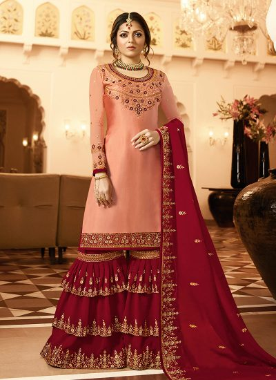Peach nd Red Embroidered Gharara Suit