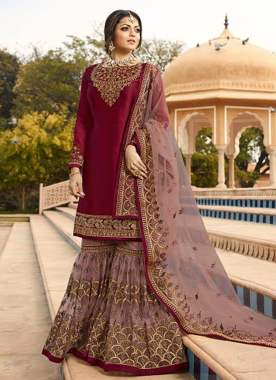 Magenta and Grey Embroidered Gharara Suit